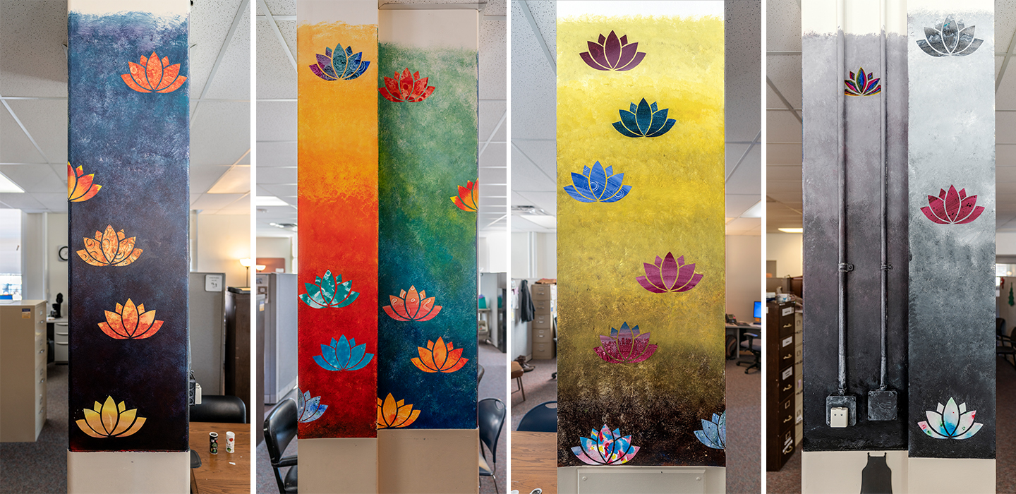 Untitled (colorful  columns inside offices)